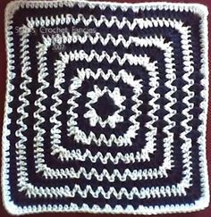 Op-Art Afghan Square, granny square pattern by Crochet by Midnight