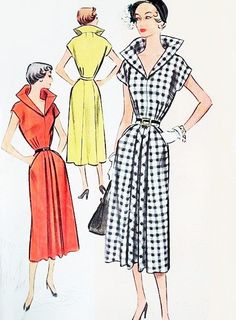 50s DRAMATIC Portrait Collar Dress Pattern McCALL 8108 Face Framing Stand Up Collar Day or Cocktail Dress B38 Vintage Sewing Pattern UNCUT by SoVintageOnEtsy on Etsy https://www.etsy.com/listing/400027795/50s-dramatic-portrait-collar-dress