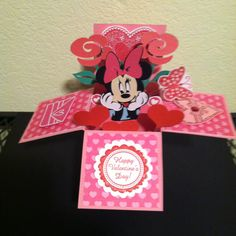 in a box Card In A Box, Pop Up Box Cards, 3d Cards, Card Boxes, Disney Valentines, Valentine Box, Exploding Box Card, Disney Cards, Kids Birthday Cards