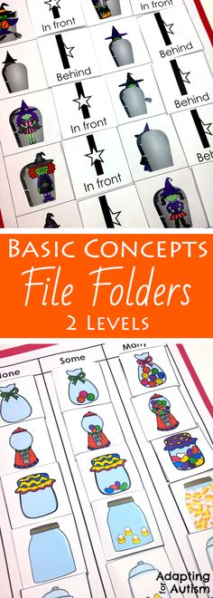This Halloween file folder activity pack is full of basic concepts practice for your special education or speech therapy students. Includes 10 concepts and 2 levels each including many visual supports for your students with autism.