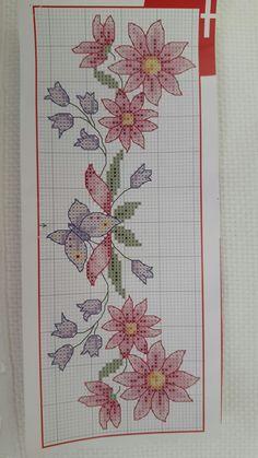Simple Cross Stitch, Cross Stitch Flowers, Modern Cross Stitch Patterns, Counted Cross Stitch Patterns, Floral Embroidery Patterns, Hand Embroidery Videos, Rico Design, Cross Stitch Alphabet, Cross Stitch Patterns
