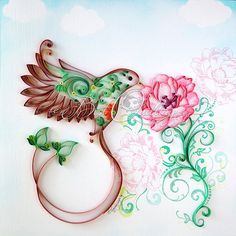 """Original Quilling Art """"Eco Bird"""" Framed Colorful Paper Art, Wall Art and Deco Home Office Any Occasion"""