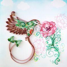 Original Art Eco Bird de Quilling encadré par BestQuillings