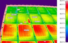 Using infrared thermography to check solar cells