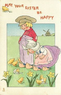 Vintage Easter - MAY YOUR EASTER BE HAPPY  boy, girl, chicks