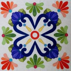 Fiesta de Talavera -- This breathtaking quilt pattern was inspired by painted Mexican Talavera tiles. Nine applique blocks along with an applique border. Finished quilt size is x design by J. Quilt Block Patterns, Applique Patterns, Applique Quilts, Pattern Blocks, Quilt Blocks, Applique Ideas, Quilting Projects, Quilting Designs, Quilting Ideas