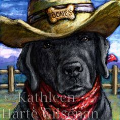 "Black Lab Art Cowboy Lab 16x16 Framed Print by MaddieLabStudio, $95.00 ""Are you a cattle rancher looking to take a vacation? Just leave your Lab in charge, everything will be fine!"""