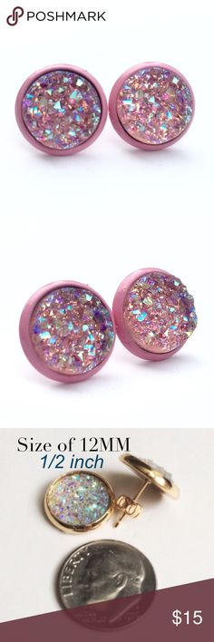 """3 for 15chunky pink Druzy style pink studs PLEASE DO NOT BUY THIS LISTING.Please comment """"Bundle"""" under the items you'd like so I can make a listing.  Handmade by me acrylic iridescent pink faux Druzy  1/2 inch 12mm earrings on a pink painted frame. Silver backs. 3 pairs for $15. Minimum charge $15. Additional pairs $5. Price firm. Can mix/match any 3 for 15 items. Each piece varies slightly in shape. Made of acrylic resin. Add to bundle won't calculate correct amount  Jewelry Earrings"""