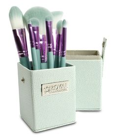 Look at this Royal Brush Purple & Teal Eight-Piece Travel Brush Set on #zulily today!