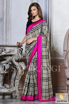 Get the awesome and fashionable appear after wearing this cream linen printed casual saree. It is chic with nice black chex pattern throughout the fabric. 1900Rs. #partywearsaree, #printedsaree, #festivalsaree, #saree, #modernsaree, #onlinesaree, #casualsaree, #formalsaree, #discountoffer