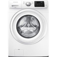 Samsung ft High Efficiency Stackable Front-Load Washer (White) ENERGY STAR at Lowe's. This Samsung front load washing machine helps you save time by fitting more into each load. Its Diamond Drum is gentle on your clothes to help them last Samsung Washer, Stainless Steel Drum, Gas Dryer, Clean Technology, Front Load Washer, White Appliances, Laundry Room Storage, Energy Star