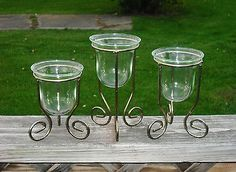 Set of 3 Tiered Votive Candle Holders -Thick Glass Cups -Anodized Brass Stands