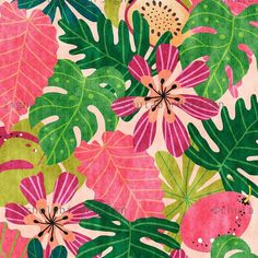 Modern Jungle Print illustration wall art by Chulart on Etsy Art Tropical, Tropical Design, Illustration Jungle, Floral Prints, Art Prints, Art Floral, Jungle Print, Art Design, Pattern Art