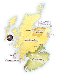 Map of Scotch Whisky distilleries, single malt, whiskies, whiskey, distillery visits, distillery tours, scotland, whisky tours