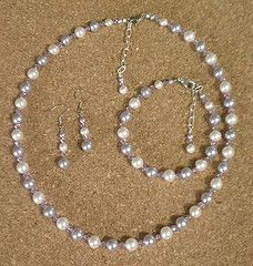 Light purple and white Swarovski crystal pearl jewelry set - necklace, bracelet, earrings
