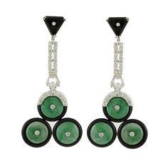 Pair of White Gold, Diamond, Jade and Black Onyx Pendant-Earrings   14 kt., jade discs ap. 12.0 mm.