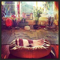 Beautiful Meditation spacePhotographer Mark Borthwicks Home Floating bed and a sheepskin throw: meditation...