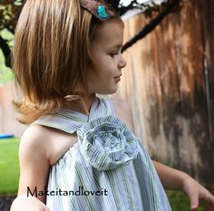 adorable...out of daddy's t-shirt...or one at a yard sale or whatever....men's shirt into a dress! @Karon Padgett