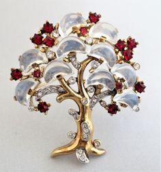Vintage TRIFARI Faux Moonstone Demi-Lune Tree Pin Brooch Signed #Trifari