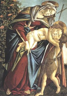 "renaissance-art-blog:  "" Madonna and Child and the Young St John the Baptist by Sandro Botticelli  Size: 92x134 cm  Medium: panel, tempera"""