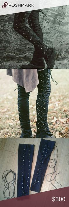 Crossfox Huntress speed leg warmers Crossfox lace up leg warmers with stretchy ribbed material between the lace up sides. I NEVER wore these. They have been sitting in storage for years. These are not made anymore so grab em while you can! Crossfox Accessories Hosiery & Socks