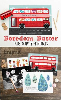 boredom buster kids activity printables with drawing prompts, colouring sheets, find the odd one out, and counting activities