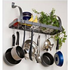 SHELF POT RACK - cool if you have the wall space, I hung one from the ceiling.   $64.16 at Amazon