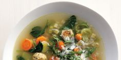 Spring Minestrone Chop whatever veg you've got in your fridge to make this soup. Chicken Meatball Recipes, Meatball Soup, Chicken Meatballs, Veggie Recipes, Soup Recipes, Cooking Recipes, Turkey Recipes, How To Cook Meatballs, Le Chef