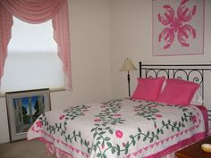 I love this quilt..I have been looking for a #pink on and what's better is it has green on it too :D