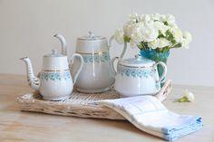 RARE Enamel Coffee Set, French Enamelware, Coffee Pot Tea Pot Sugar Can Set B & W Antique 1920s, Enamelware Collectibles, Graniteware