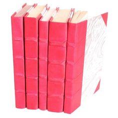 S/5 Parchment Covered Books, Fuchsia