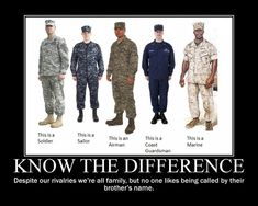 The United States Military: Soldier = Army, Sailor = Navy, Airman = Airforce, Coastguardsman = Coastguard, and Marine = Marine Corps Marine Corps, Marine Mom, Marine Ball, Marine Life, Military Humor, Military Love, Military Uniforms, Military Brat, Navy Uniforms