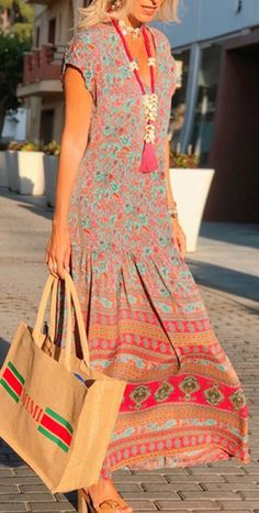 Boho V Neck Printed Ruched Dress Day Dresses, Nice Dresses, Evening Dresses, Casual Dresses, Casual Outfits, Fashion Outfits, Cocktail Dress Prom, Spring Outfits Women, Estilo Boho
