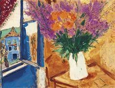 MARC CHAGALL  Fleurs Près de la Fenêtre (Flowers Near the Window, 1926).  #art #artists #chagall