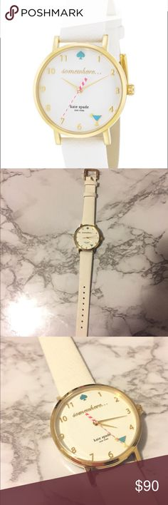 """Kate Spade Metro Watch Brand new. Clear cover on front face and back. Working battery.  •White leather strap •Round gold tone case 34mm •White enamel dial with gold tone numerals, two hands, straw motif second hand, blue martini glass at 5 o'clock, Spade marker and """"somewhere"""" script.  •Quarts movement  Water resistant to 30 meters kate spade Accessories Watches"""