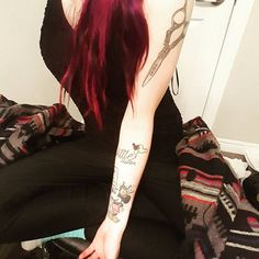 I spend most of my free time doing my own hair or looking at my tattoos ♡♡… Hairdresser Tattoos, Fan Tattoo, Free Time, Instagram Posts, Hairdressing Tattoos, Time Out