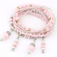 Winding Pink Beads Decorated Multilayer Design Alloy Korean Fashion Bracelet www.asujewelry.com