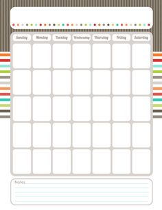 Free & Cute Printable Monthly Calendar