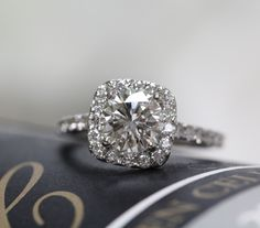 1.64 ctw Halo Engagement Ring. Natural Round Brilliant Diamonds. 18k White Solid Gold. G VS1