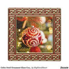 Celtic Swirl Ornament Glass Coaster