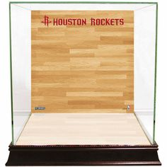 Steiner Sports Glass Basketball Display Case with Houston Rockets Logo On Court Background, Multicolor