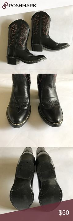 Boy or girl black leather cowboy boots. Black leather cowboy boots with white and red threading. Size 13.5. Excellent condition, worn once. Shoes Boots