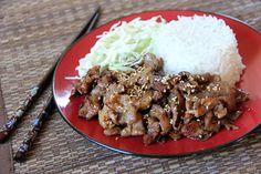 Japanese Ginger Pork (Shogayaki) \\ ginger, mirin, soy sauce, sesame seeds