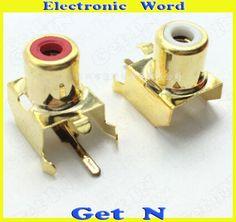 10pcs-200pcs    RCA 1x holes 2Pins Audio Video PCB RCA Connecctors Jacks 2P Socket White Red Colors