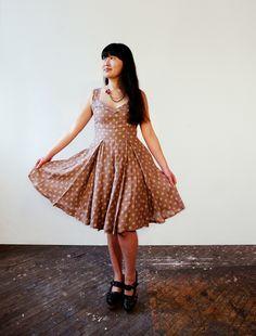 Mauve Taupe Polka Dot Halter Dress