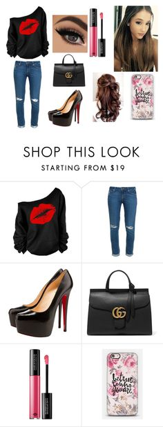 """""""Ariana Grande casual style"""" by jazmin-suero-de-leon on Polyvore featuring Paige Denim, Christian Louboutin, Gucci, MAKE UP FOR EVER and Casetify"""