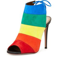 Aquazzura Rainbow Striped Suede Sandal ($745) ❤ liked on Polyvore featuring shoes, sandals, heels, rainbow, rainbow high heel shoes, self tying shoes, open toe sandals, stripe shoes and suede sandals
