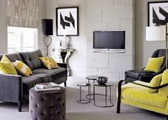 Looking for modern living room decorating ideas? Take a look at this monochrome modern living room from Homes & Gardens for inspiration. For more living room ideas, such as how to decorate with a monochrome scheme, visit our living room galleries Casual Living Rooms, Living Room Modern, Home And Living, Living Area, Living Room Interior, Interior Design Living Room, Living Room Designs, Interior Paint, Room Color Schemes