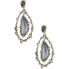 Alexis Bittar Crystal Frame Labradorite & Lucite Orbital Clip Earrings ($190) ❤ liked on Polyvore
