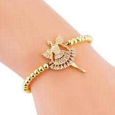 Brass Inlaid Zircon Personality Product Sun Goddess Copper Bead Pull Bracelet NHLN188809